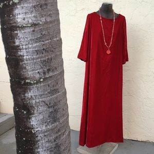 VINTAGE red velvet bell sleeve gown holiday glam